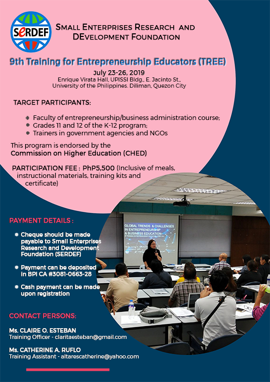 SERDEF 9th Training for Entrepreneurship Educators (TREE)