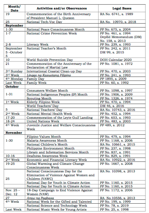 DepEd School Calendar and Activities for SY 2020-2021